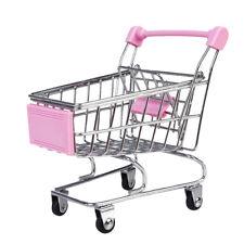 Mini Trolley Supermarket Shopping Cart Phone Holder Kids Pretend Toy Pink