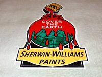 """VINTAGE """"SHERWIN WILLIAMS PAINTS COVER THE EARTH"""" 12"""" METAL GASOLINE & OIL SIGN!"""