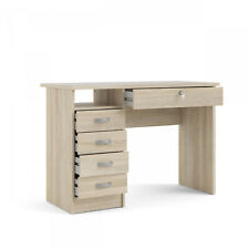 Walden Desk With Five Drawers Oak Structure Open Shelf For Easily Accessible