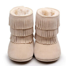 US Baby Newborn Girls Tassels Soft Snow Boots Soft Crib Shoes Toddler Botts 13