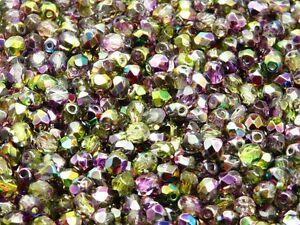 CHOOSE COLOR! 100pcs 4mm Round Fire-Polish Beads Czech Glass
