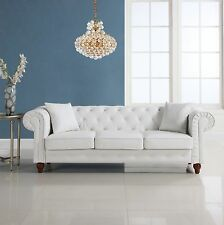 Classic Chesterfield Sofa with Scroll Arm Details, Tufted Bonded Leather, White