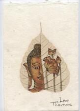 Original Ink and Oil with Bodhi Leaf   Buddha Image    Vientiane Laos       BL18