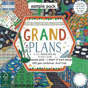 DOVECRAFT GRAND PLANS PAPERS 6 X 6 SAMPLE PACK - 1 OF EACH DESIGN - 16 SHEETS