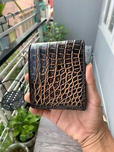 Double sides Alligator leather bifold wallet men 100% PATINA WAX Crocodile skin