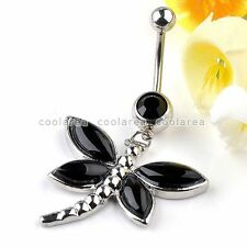 1x Stainless Steel 14G Black Agate Dragonfly Belly Navel Ring Bars Piercing Rock