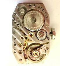 Illinois 870A Watch Movement With Good Balance, Running~Dial Is In Decent Shape
