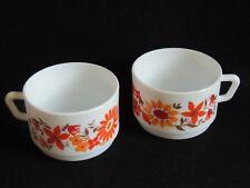 Ensemble de 2 grandes tasses petit déjeuner Années 70 fleurs vintage orange