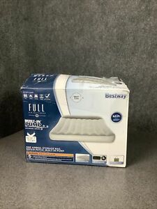 Bestway Full Air Mattress Built-In Pump Soft Top 12in Auto Inflate M64C
