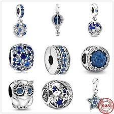 Blue Sweet Night Starry Sky Bead Pandora charm silver 925 Bracelet Women Jewelry