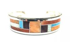 Handmade Multicolored Inlay Cuff Bracelet Native American Sterling Silver Zuni