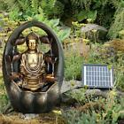Solar Golden Buddha Fountain Outdoor Water Feature Led Polyresin Statues Decor