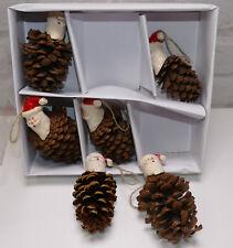 6 x Christbaumschmuck Weihnachtsmann Zapfen Hängedeko 1B Restposten 1B2