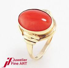 Ring  8K/333 Gelbgold - 1 Koralle - Größe 54  - 3,3 g