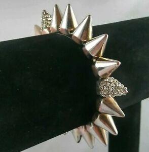 Spike Stud Bracelet Hedgehog Elastic Stretch Bangle Punk Multi Tone Faux Diamond
