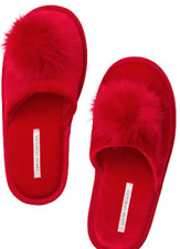 VICTORIA'S SECRET RED POM POM SLIPPERS SIZE MEDIUM 7-8 NEW!