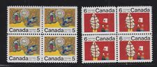 CANADA 1970 MINT NH SC #522v & 523i CHILDREN'S CHRISTMAS DESIGNS BLOCKS CAT $120