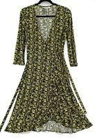 Nine West Women's Size 2 Green Black Camo Block Wrap Sheath 3/4 Sleeve Dress