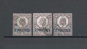 BRITISH LEVANT 1905 SG 14, 14a, 14ab USED Cat £17