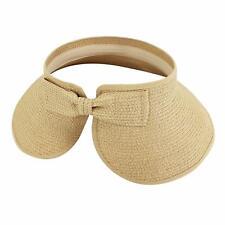 Women's Wide Brim Roll-up Straw Sun Visor Packable Foldable Beach Open Top Hat