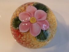 Orient & Flume Crystal Cased Pink Camellia Paperweight SILLARS AND BEYERS EC