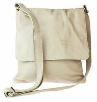 Genuine Soft Leather Italian Cross Body Shoulder Bag Flap Zipped Simple Elegant