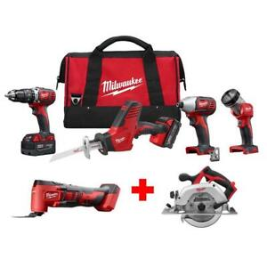 Milwaukee Combo Tool Kit 4-Tool 18-Volt Battery Cordless Charger Variable Speed