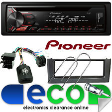 Fiat Grande Punto Pioneer CD MP3 USB CAR STEREO VOLANTE & Grigio Kit Fascia