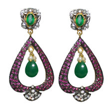 Ruby Antique 925 Silver Dangler Earring 0.95cts Rose Cut Diamond Emerald Pearl