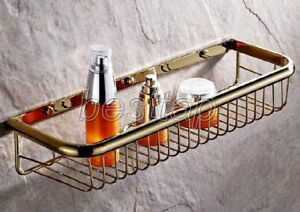 45cm Gold Polished Brass Wall Mounted Shower Shelf Caddy Basket Storage sba096