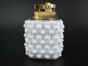 Fenton Glass Hobnail SQUARE TABLE LIGHTER Milk Glass Vintage Mechanism Works