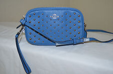 NWT Coach 56533 Polished Pebble Leather Ombre Rivets Crossbody Clutch Lapis Blue