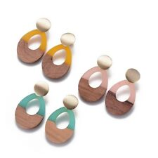 6 Pairs Drop/Oval Resin & Wood Dangle Stud Earrings Mixed Color Fashion Jewelry