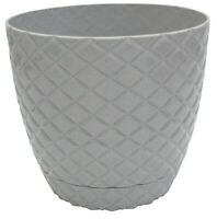 Grey Diamond Cut Modern Large Plant Pot Indoor / Outdoor 5.6 Litre Planter