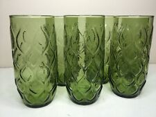 6 Vintage Anchor Hocking Green Madrid 24 Oz Cooler Tumblers Glasses