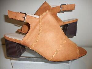 Tan Faux Suede Slingback Open Toe Shoes Size UK 6 Wide Fit (EEE) BNIB ~~ Evans