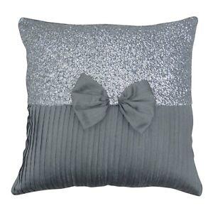 S4Sassy Decor Gray Silver Sequins Decorative Cushion Cover Bow Gift-xtr