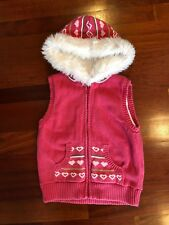 Gymboree Gingerbread Girl Heart Faux Fur Hooded Sweater Vest Top Size 7-8