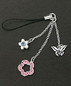 Cell Phone Charm Strap Dangle Crystal Flowers & Silver Butterfly Christmas Gift