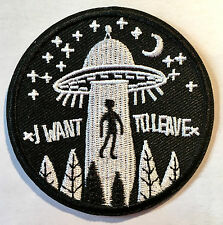 I WANT TO LEAVE Aufbügler / Aufnäher iron on patch UFO Alien Hippie Freak Sterne