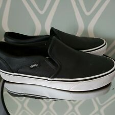 Vans Black Perf Leather Asher Slip On Sneakers Size Womens 8.5