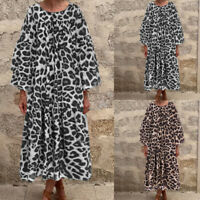 Womens Spring V-neck Long Sleeve Leopard Casual Baggy Pleated Elegant Maxi Dress