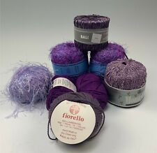Group 8 Skeins & Hanks Purple & Lavender Yarns Variety Incl. Bamboo, Lambswool