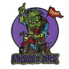 Normals Suck Patch Iron On Frankenstein Biker Patch Retro Horror Rockabilly