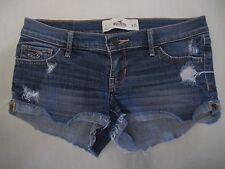Hollister Distressed Short Shorts 1 Blue Denim Holes Jean Booty Cut Off 25 Sexy