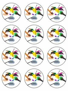 make up artist make up hobby edible cupcake Toppers Wafer Icing x 12