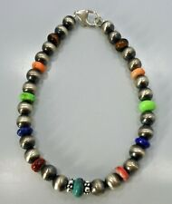 Navajo Pearl Bracelet Sterling Silver Bead or Necklace Extender 7 1/2 Inch