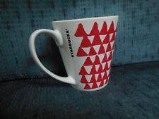 STARBUCKS 9.63 FL. OZ MUG CUP RED TRIANGLES WHITE CERAMIC COFFEE  2016 CHRISTMAS