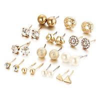 12 Paar Mode Frauen Platz Herz Dreieck-Strass Perle Ohrringe Set Ohrstecker S 2I