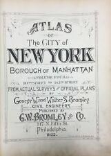 1922 ORIGINAL G.W. BROMLEY MANHATTAN NEW YORK TITLE PAGE ATLAS MAP